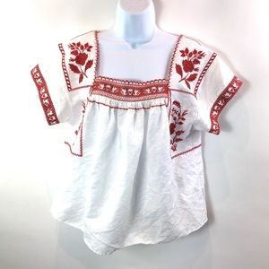 Madewell Top Wildfield Linen Blend White Red L/XL